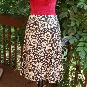 Talbots Black And Tan Cotton A-line Skirt Size 10